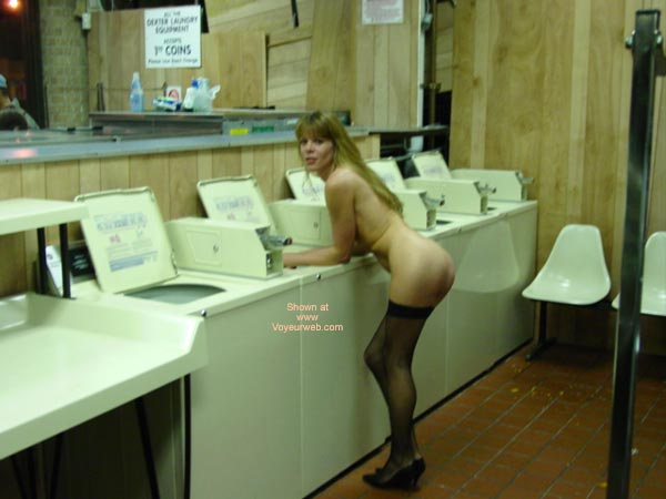 Nude Girl At Laundrymat - Round Ass, Stockings , Nude Girl At Laundrymat, Black Thigh High Stockings, Nude In Public Laundry, Round Ass, Exhibitionist Girl, Black Stockings