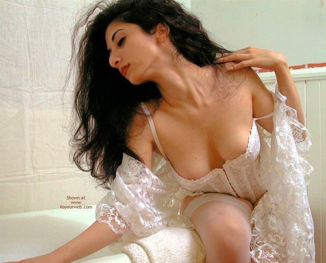 White Lingerie - Black Hair, Stockings, Sexy Lingerie , White Lingerie, My Bath Is Ready, White Lace, White Stockings, Black Hair