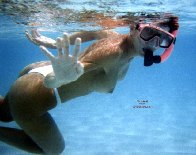 Topless Diver - Topless , Topless Diver, Girl Snorkeling Topless, Floating Tits, White Bikini Bottom, Underwater, Topless Underwater, Topless Snorkeling