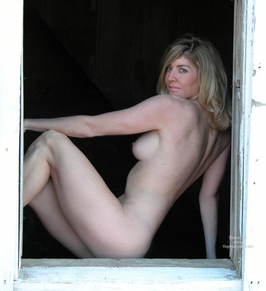 Side View Of Naked Woman - Blonde Hair, Nude Amateur , Gray Eyes With Freckles, Gorgeous Figure, Hot And Sexy Figure, Classic Blond, Erect Nipple, Profiled Nude, Blond Sitting In Open Window, Framed Beauty, Sensual Torso