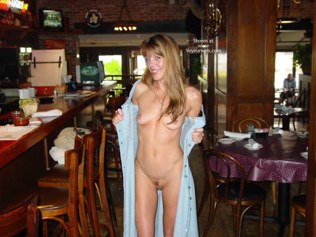 Fully Naked In Bar , Fully Naked In Bar, Looking Into The Camera Smiling, Blonde Nude, Barflash