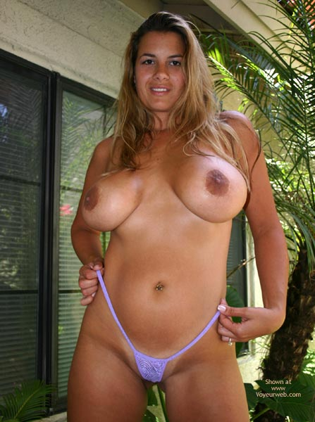 Lavender Micro Thong - Big Areolas, Big Tits, Huge Tits, Nude Outdoors, Thong , Lavender Micro Thong, Huge Tits, Bellybuttonjewlery, Outside, Big Tits, Big Areolas, Looking Down On Photographer, Showing Tan Lines, Topless In Backyard
