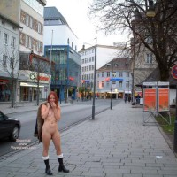 Eip Street Town - Boots, Nude In Public , Eip Street Town, Nude In Public, Uptown Nude Girl, Black Boots, Standing Pavement, Public Shyness