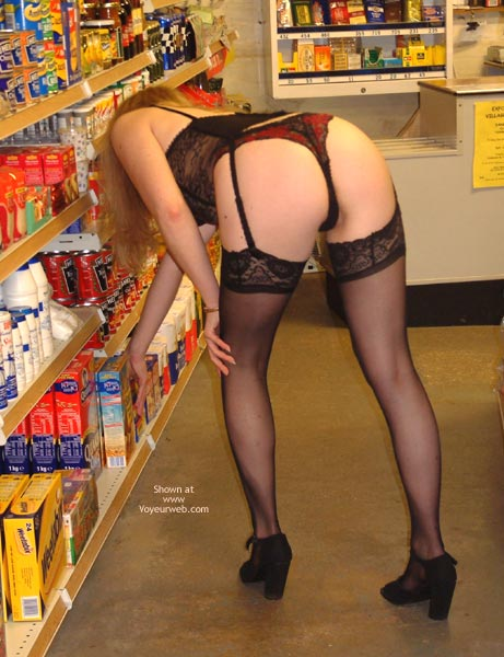 Shopping In Lingerie - Bend Over, Rear View, Stockings , Shopping In Lingerie, Bending Over, Bent Over In Black Stockings, Black Stockings, Black Corsage, Rear Shot, Black And Red Knickers