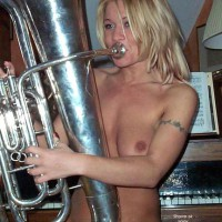 Blow Instrument - Blonde Hair, Girls , Blow Instrument, Trombone Babe, Blonde Hair, Blow Your Horn, Chain Tattoo On Arm