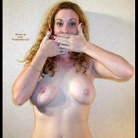 Medium Sized Boobs - Hard Nipple, Standing, Topless Girl , Medium Sized Boobs, Standing, Hiding Mouth, Topless Girl, Frontal Shot Indoors, Hard Nipples