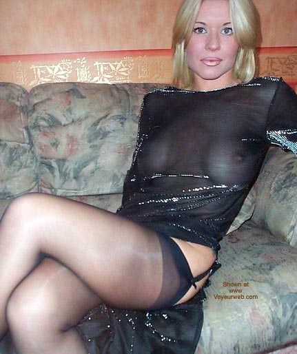 See-thru Black Top , See-thru Black Top, Black Hose, Blonde Girl On Sofa, Sheer Black Top, Sheer Black Stockings, Black Garter Belt, Platinum Blonde