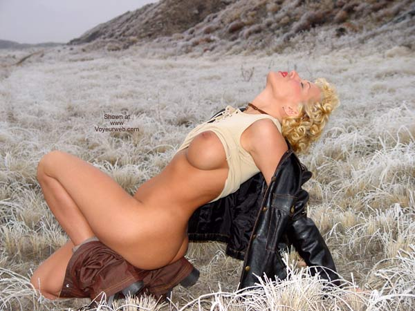 Nude In Public Field Outdoors - Nude Outdoors , Nude In Public Field Outdoors, Black Leather Jacket, Short Curly Blonde, Posing In A Field, Head Back Eyes Closed, Nude In Frost