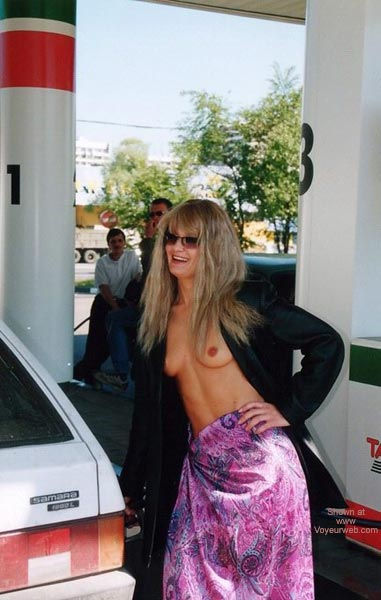 Public Nudity - Nude In Public, Skirt, Small Aerolas , Public Nudity, Gas Station, Long Bleached Hair, Topless With Small Tits, Open Black Coat And Purple Skirt, Small Aerolas