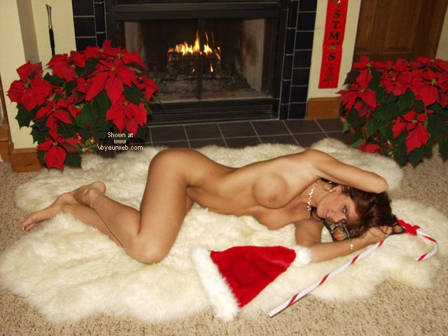 Waiting For Santa , Waiting For Santa, Xmas Theme, Laying By Fireplace, Nude On Rug, Santa Hat