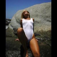 White Bikini - Bikini, Tiny Tits, Wet , White Bikini, Wet Skin, Tiny Tits, Reclining Against Rock, White Swim Suit, Sheer Swimsuit