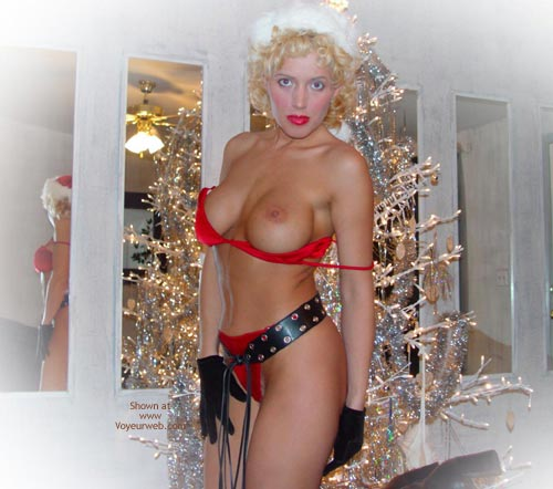 Christmas Nipple - Blonde Hair, Sexy Panties , Christmas Nipple, Blond, Red Panties, Bra Coming Off Tits, Posing In House, Posing By Christmas Tree