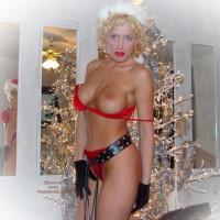 Christmas Nipple - Blonde Hair, Sexy Panties , Christmas Nipple, Blond, Red Panties, Bra Coming Off Tits, Posing In House, Posing By Christmas Tree