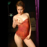 Exposed Breast - Looking At The Camera, Sexy Panties , Exposed Breast, Short Red Hair, Red Panties, One Tit Out, Looking At Camera, Petite Breast