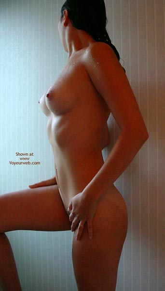 Nude Brunette Leaning On Wall - Small Nipples , Nude Brunette Leaning On Wall, Small Nipples, Dark Wet Hair