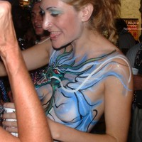 Body Painting , Body Painting, Girl In A Party, Tongue Out, Painted Tit