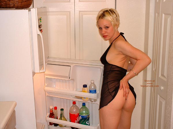 Seethough Dress - Strip , Seethough Dress, Ass Teasing, Refrigerator Strip, Looking At Camera, Halter Top, Black Chemise