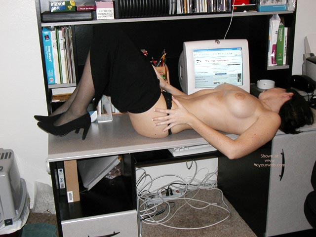 Computer Fun - Fun, Stockings, Sexy Shoes , Computer Fun, Topless In Front Of Computer, Lying On Office Desk, Undressing Girl, Black Stockings, Black Shoes, Black Fally Down Skirt, Voyeur Webbing Boobs