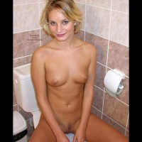 Sweet Tits And Landing Strip - Perky Tits , Sweet Tits And Landing Strip, Young Blonde, In The Bathroom, Perky Tits, Looking At Camera, Naked Beauty With Perky Boobs