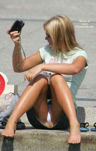 Upskirt - Upskirt , Voyeur, Blue Demin Mini-skirt, Barefoot, White Panties - Upskirt, Floper, Miky Mouse T-shirt, Street Voyeur, Green T-shirt, Thong Up The Crack, Tourist, Oops Photo