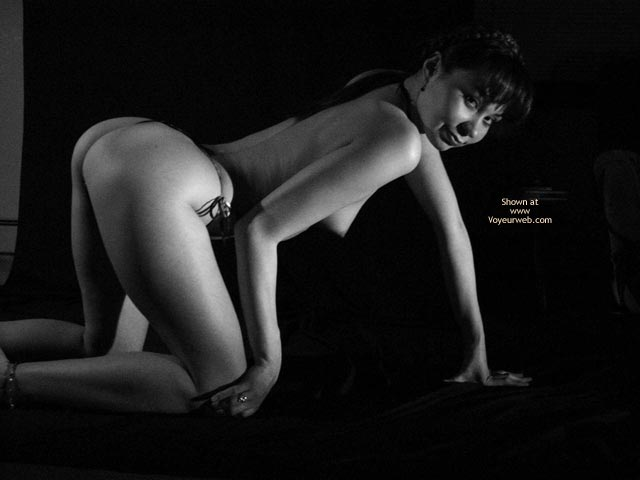 Artistic Pose - Artistic Nude , Artistic Pose, Black And White Photo, On Hands And Knees, G-string
