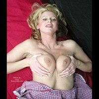 Squeezing Titties - Titties , Squeezing Titties, Waist Up Squeezing Her Bare Boobs, Laying On Red Towel, Blonde Laying On Her Back, Pink Cheeks, Checked Dress, Gingham Dress