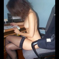Panties In Bosses Pocket - Stockings , Panties In Bosses Pocket, Well Nippled Secretary, Home Office, Home Office, Black Stockings, Sitting On Office Chair, This Would Make For Great Office