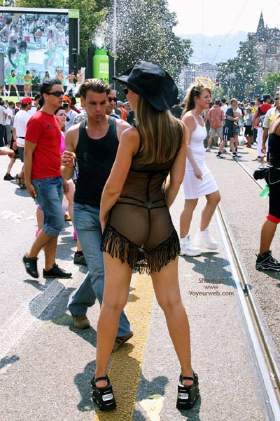 Full Length Rear View - G String, Rear View , Full Length Rear View, Sheer Dress With Black G-string, Exhibitionist On Busy Street