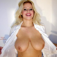 Blonde Flashing Breast - Big Tits, Eye Contact, Smiling , Blonde Flashing Breast, Big Tit Blonde, Smiling, Big Breasts, Looking At You, Eye Contact, Big Smilte Big Tits