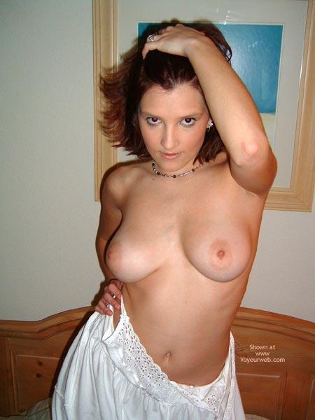 Bare - Bedroom, Brunette Hair , Bare, Eyes, Bedroom, Big Titted Brunette, White Cotton Night Gown, Light Skinned Boobs, Big Light Areole
