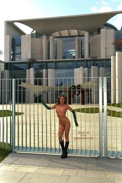 Nude In Public - Boots, Nude In Public, Standing , Nude In Public, Standing, Long Gloves, Black Boots, Long Gloves And Fmbs, Naked In Public, Nude On Gates