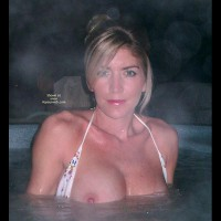 Flashing In The Hot Tub - Bikini, Looking At The Camera , Flashing In The Hot Tub, Topless In Hot Tub, Looking At Camera, White Bikini, Blonde Bikini Top Opened To Expose Tits, Nipple Flash, Jacuzzi