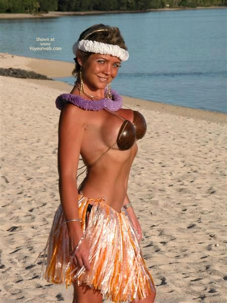 At The Beach - At The Beach, Bikini, Bra, Skirt , At The Beach, Island Delight, Coconut Bikini, Luoi Skirt, Looking Into Camera Smiling, Coconut Bra, Chest Out, Grass Skirt