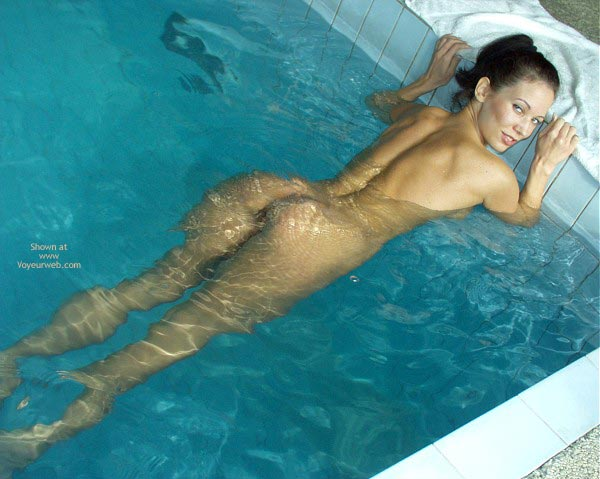 Nude In Pool - Sexy Ass , Nude In Pool, Bare Ass, Shoulder Length Brunette