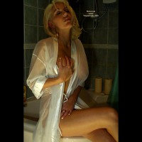 Grabbing Her Own Breast - Blonde Hair , Grabbing Her Own Breast, Blonde Hair, Enjoying Her Own Touch, Sheer White Robe