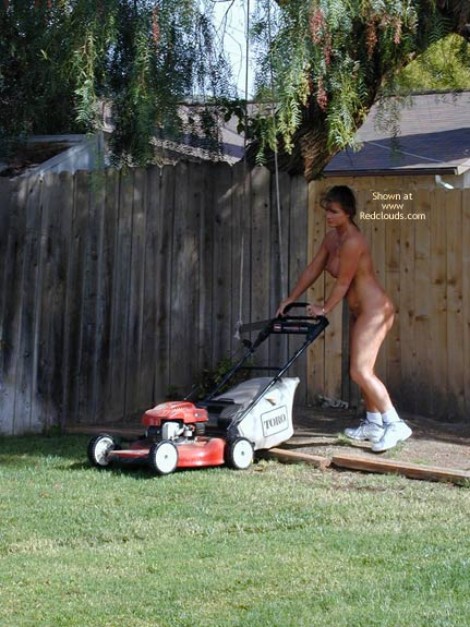 Nude Gardening - Naked Girl , Nude Gardening, Topless In The Garden, Mowing Lawn Naked