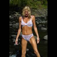 Wet Blonde Standing Outdoors - Bikini, Long Hair, Wet , Wet Blonde Standing Outdoors, See Through White Bikini, Wet Bikini, Wet Skin, Wet White Lingrie, Girl In River, Long Blonde Hair, Wet White Cotton Panties, White Bra, Wet Underwear