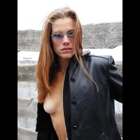 Black Leather Coat , Black Leather Coat, Boob Peeking