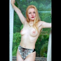 Blond With Small Breast - Long Hair , Blond With Small Breast, Long Blonde Hair, Topless By Window, French Cut Panties, Black And White Lace Panites
