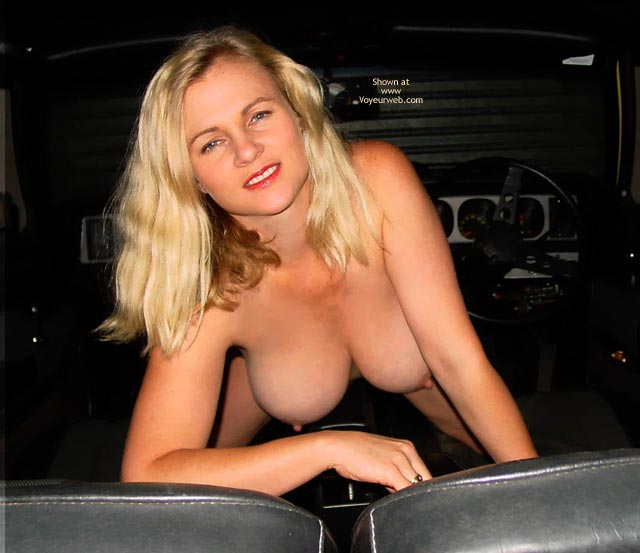 Front Seat Hangers - Bend Over, Hangers, Nude In Car, Pink Nipples , Front Seat Hangers, Errect Pink Nipples, Red Soft Lips, Bent Over, Blonde Nude In Car, Blonde Flashing Tits Front Seat Of Car, Eraser Nipples, Large Cup Size