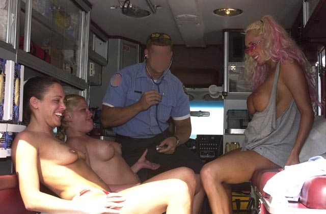 Nude In Ambulance , Nude In Ambulance, Three Nude Girls, Medical Check, Tit Examination, Pierced  Nipples, Clothing Optional
