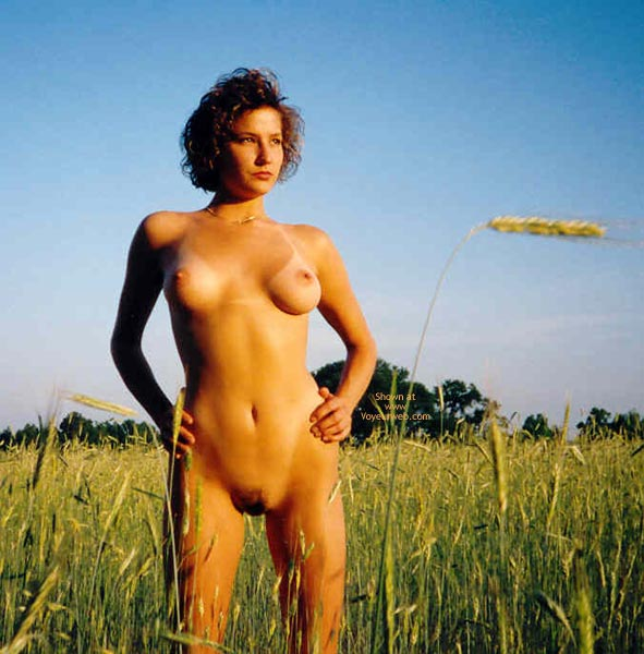 Nude In Field Grass - Tan Lines , Nude In Field Grass, Naked In The Field, Field, Tanline, Tan Lines, Perfect Shape Boobs