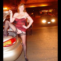 Spread Legs - Spread Legs, Stockings, Top , Spread Legs, Black Stockings, Flashing Pussy In Parking Lot, Red Lingerie Top, Shaved Pussy