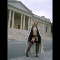 Exposed In Public - Exposed In Public, Stockings , Exposed In Public, Black Garter Belt, Black Stockings, Black High Heel Pumps