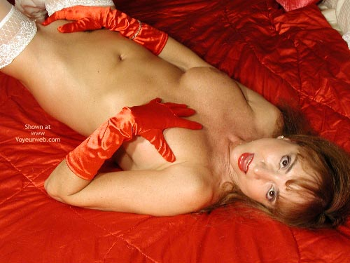 Red Satin Gloves , Red Satin Gloves, White Lace Top Thigh Highs, Red Gloved Hand Over One Breast