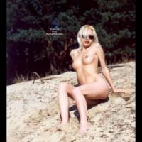 Nude On Beach - Nude Beach, Beach Voyeur , Nude On Beach, Dark Sunglasses, Beach Scene, Thrusting Breast Forward, Blonde Hair Over Face