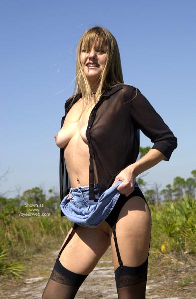 Skirt Lift Outdoors - Nude Outdoors , Skirt Lift Outdoors, Black Garter Belt, Jean Skirt Lifted Up, Black Sheer Open Shirt