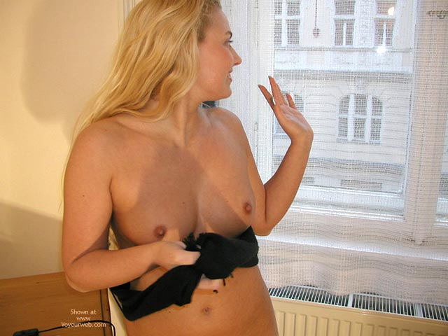 Naked By Window - Blonde Hair, Tiny Nipples , Naked By Window, Tiny Nipples, Blonde, Waving Hand