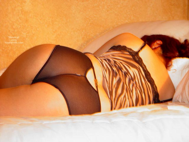 Laying On Bed Black Lingerie - Sexy Ass, Sexy Lingerie , Laying On Bed Black Lingerie, Black See Through Panties, Nylon Panty, Sleeping Girl, Leopard Top, Backview, Ass Shot