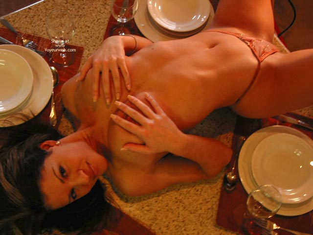 Soup Or Pussy , Soup Or Pussy, Laying On Table, Hands On Tits, Arching Back, Dinner, Orange Panties, Erect Nipple Covered